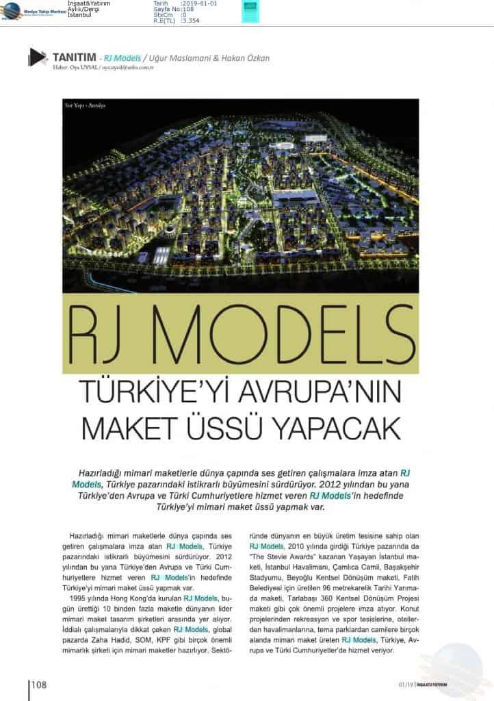 İnşaat & Yatrım - Rj Models, Türkiye'yi Avrupa'nın Maket Üssü Yapacak